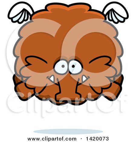 Clipart of a Cartoon Chubby Woolly Mammoth Flying - Royalty Free Vector Illustration by Cory Thoman