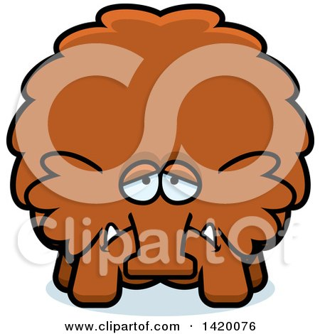 Clipart of a Cartoon Depressed Chubby Woolly Mammoth - Royalty Free Vector Illustration by Cory Thoman