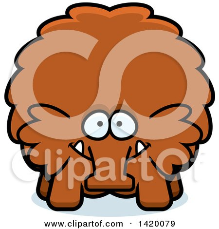 Clipart of a Cartoon Chubby Woolly Mammoth - Royalty Free Vector Illustration by Cory Thoman