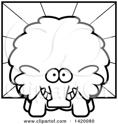 Clipart of a Cartoon Black and White Lineart Chubby Woolly Mammoth over Rays - Royalty Free Vector Illustration by Cory Thoman