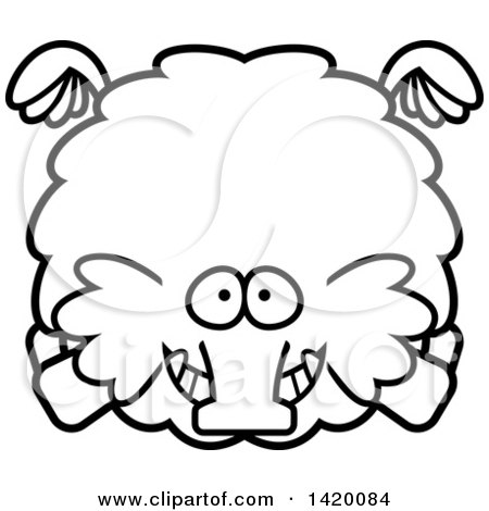 Clipart of a Cartoon Black and White Lineart Chubby Woolly Mammoth Flying - Royalty Free Vector Illustration by Cory Thoman