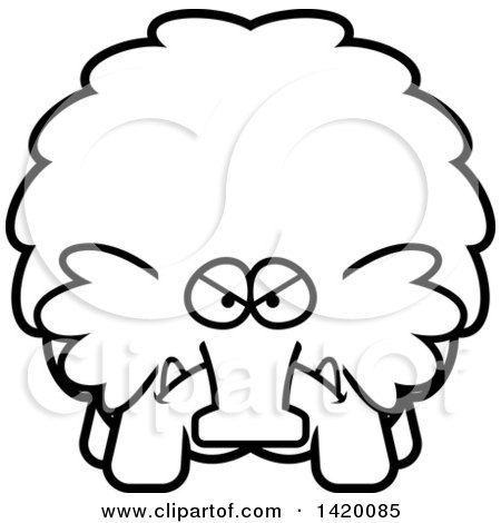 Clipart of a Cartoon Black and White Lineart Mad Chubby Woolly Mammoth - Royalty Free Vector Illustration by Cory Thoman