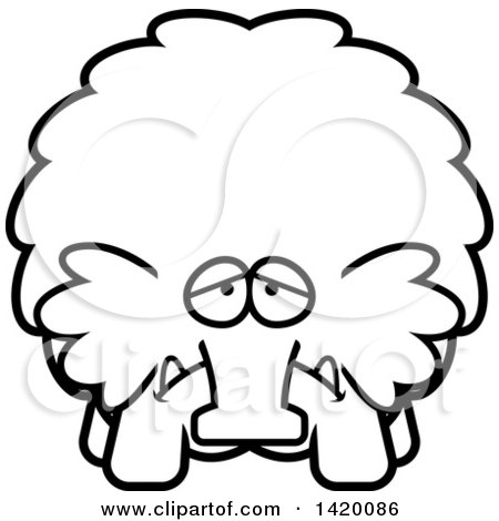 Clipart of a Cartoon Black and White Lineart Depressed Chubby Woolly Mammoth - Royalty Free Vector Illustration by Cory Thoman