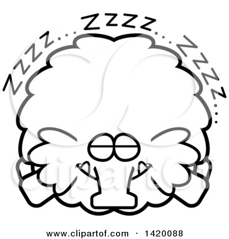 Clipart of a Cartoon Black and White Lineart Chubby Woolly Mammoth Sleeping - Royalty Free Vector Illustration by Cory Thoman