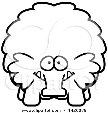 Clipart of a Cartoon Black and White Lineart Chubby Woolly Mammoth - Royalty Free Vector Illustration by Cory Thoman