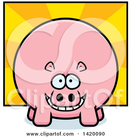 Clipart of a Cartoon Chubby Hippo over Rays - Royalty Free Vector Illustration by Cory Thoman