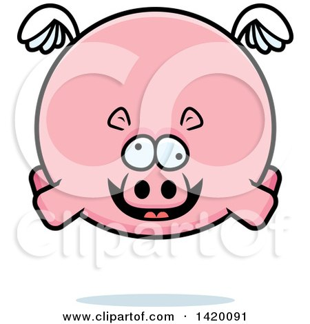 Clipart of a Cartoon Chubby Crazy Hippo Flying - Royalty Free Vector Illustration by Cory Thoman