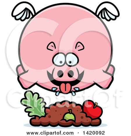 Clipart of a Cartoon Chubby Hippo Flying and Eating - Royalty Free Vector Illustration by Cory Thoman