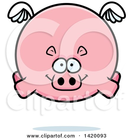 Clipart of a Cartoon Chubby Hippo Flying - Royalty Free Vector Illustration by Cory Thoman