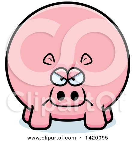 Clipart of a Cartoon Mad Chubby Hippo - Royalty Free Vector Illustration by Cory Thoman