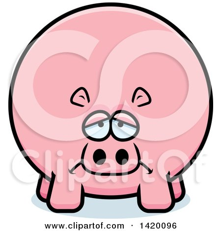 Clipart of a Cartoon Depressed Chubby Hippo - Royalty Free Vector Illustration by Cory Thoman