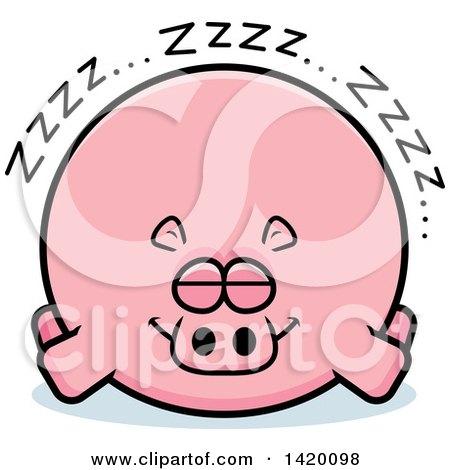 Clipart of a Cartoon Chubby Hippo Sleeping - Royalty Free Vector Illustration by Cory Thoman