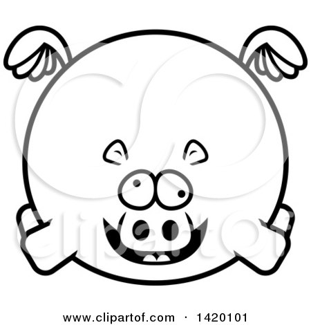 Clipart of a Cartoon Black and White Lineart Chubby Crazy Hippo Flying - Royalty Free Vector Illustration by Cory Thoman