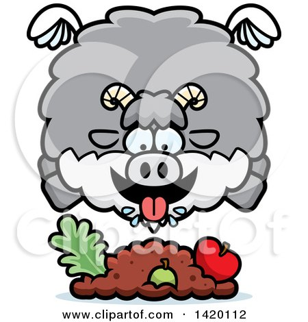 Clipart of a Cartoon Chubby Goat Flying and Eating - Royalty Free Vector Illustration by Cory Thoman
