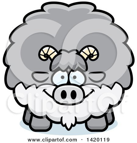 Clipart of a Cartoon Chubby Goat - Royalty Free Vector Illustration by Cory Thoman