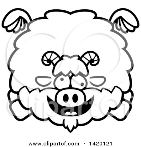 Clipart of a Cartoon Black and White Lineart Chubby Crazy Goat Flying - Royalty Free Vector Illustration by Cory Thoman