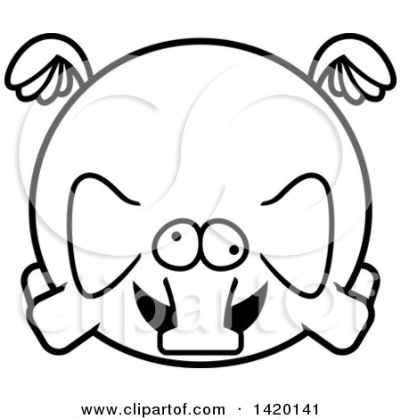 Clipart of a Cartoon Black and White Lineart Chubby Crazy Elephant Flying - Royalty Free Vector Illustration by Cory Thoman