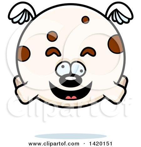 Clipart of a Cartoon Chubby Craszy Dog Flying - Royalty Free Vector Illustration by Cory Thoman
