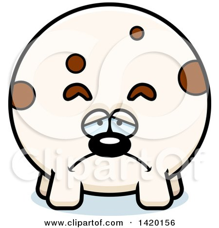 Clipart of a Cartoon Depressed Chubby Dog - Royalty Free Vector Illustration by Cory Thoman