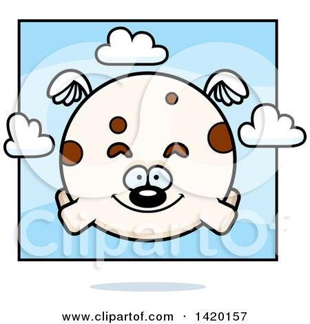 Clipart of a Cartoon Chubby Dog Flying - Royalty Free Vector Illustration by Cory Thoman