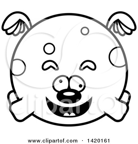 Clipart of a Cartoon Black and White Lineart Chubby Craszy Dog Flying - Royalty Free Vector Illustration by Cory Thoman