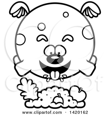 Clipart of a Cartoon Black and White Lineart Chubby Dog Flying and Eating - Royalty Free Vector Illustration by Cory Thoman