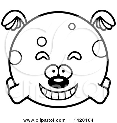 Clipart of a Cartoon Black and White Lineart Chubby Dog Flying - Royalty Free Vector Illustration by Cory Thoman