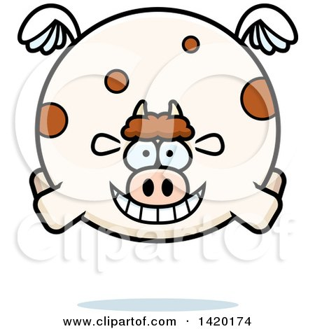 Clipart of a Cartoon Chubby Cow Flying - Royalty Free Vector Illustration by Cory Thoman