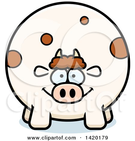 Clipart of a Cartoon Chubby Cow - Royalty Free Vector Illustration by Cory Thoman