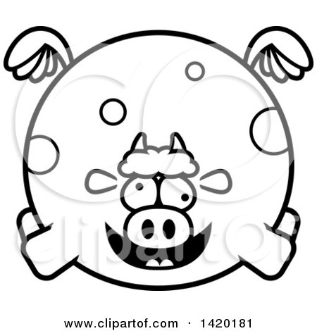 Clipart of a Cartoon Black and White Lineart Chubby Crazy Cow Flying - Royalty Free Vector Illustration by Cory Thoman