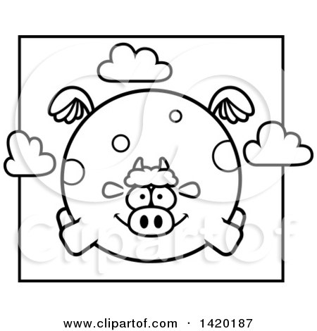 Clipart of a Cartoon Black and White Lineart Chubby Cow Flying - Royalty Free Vector Illustration by Cory Thoman