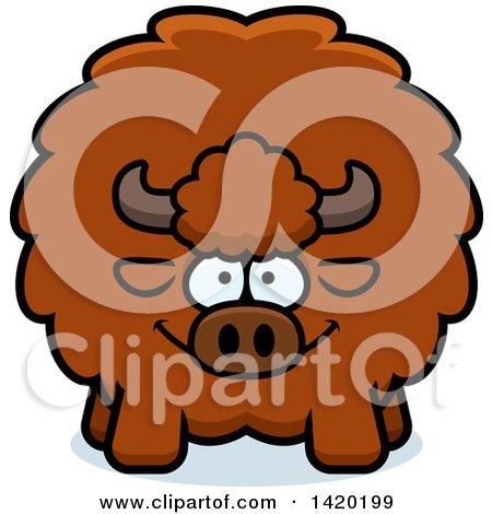 Clipart of a Cartoon Chubby Buffalo - Royalty Free Vector Illustration by Cory Thoman