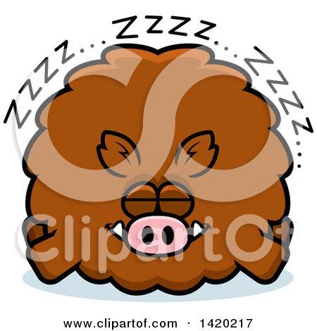 Clipart of a Cartoon Chubby Boar Sleeping - Royalty Free Vector Illustration by Cory Thoman