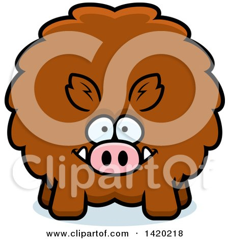Clipart Of A Cartoon Chubby Boar Royalty Free Vector Illustration