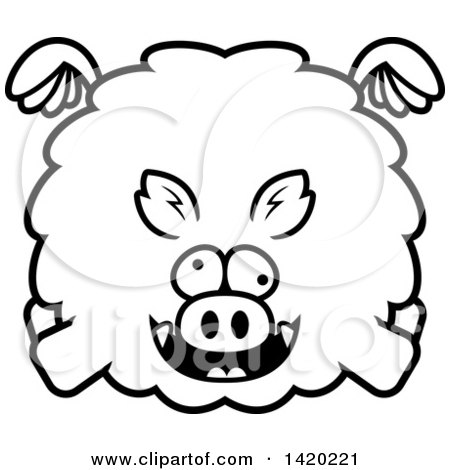 Clipart of a Cartoon Black and White Lineart Chubby Crazy Boar Flying - Royalty Free Vector Illustration by Cory Thoman