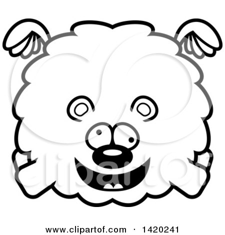 Clipart of a Cartoon Black and White Lineart Chubby Crazy Bear Flying - Royalty Free Vector Illustration by Cory Thoman