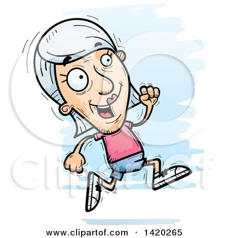 Clipart of a Cartoon Doodled Senior White Woman Running - Royalty Free Vector Illustration by Cory Thoman