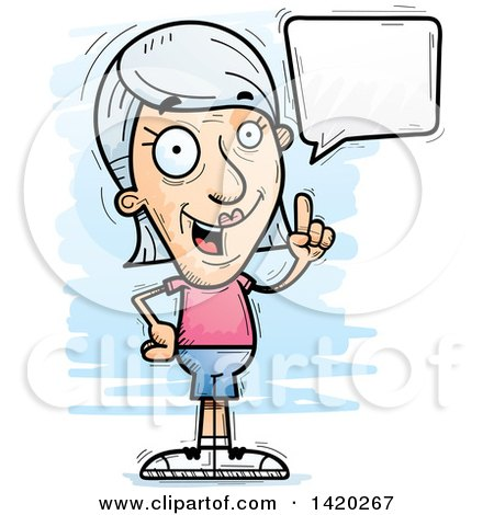 Clipart of a Cartoon Doodled Senior White Woman Holding up a Finger and Talking - Royalty Free Vector Illustration by Cory Thoman