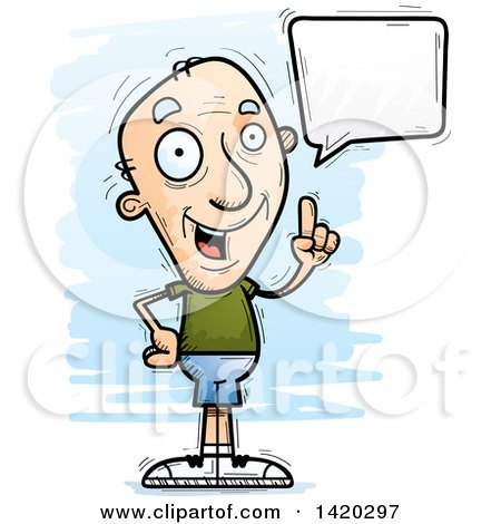 Clipart of a Cartoon Doodled Senior White Man Holding up a Finger and Talking - Royalty Free Vector Illustration by Cory Thoman
