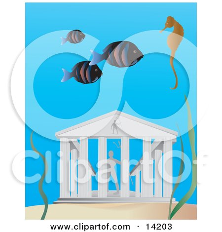 Three Fish and a Seahorse Swimming Near the Lost City of Atlantis Clipart Illustration by Rasmussen Images