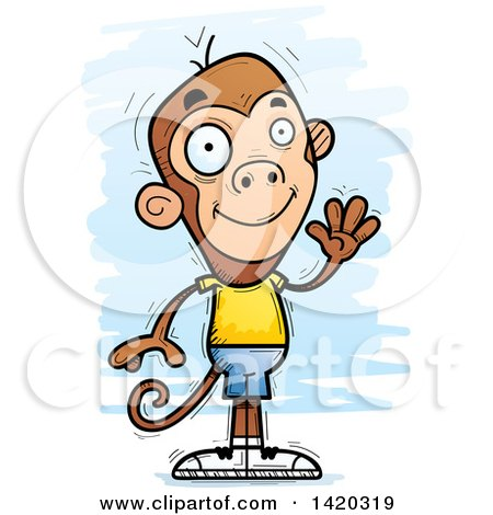 Clipart of a Cartoon Doodled Friendly Monkey Waving - Royalty Free Vector Illustration by Cory Thoman