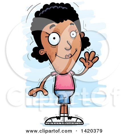 Clipart of a Cartoon Doodled Friendly Black Woman Waving - Royalty Free Vector Illustration by Cory Thoman