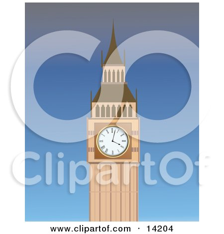 The Big Ben Clock Tower at the Palace of Westminster Clipart Illustration by Rasmussen Images