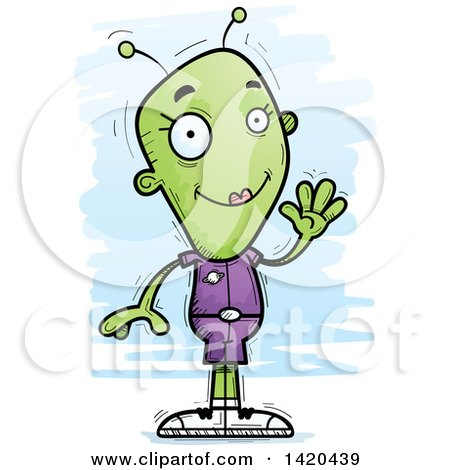 Clipart of a Cartoon Doodled Friendly Female Alien Waving - Royalty Free Vector Illustration by Cory Thoman
