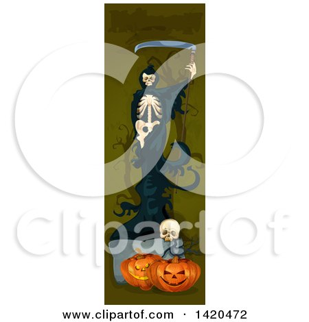 Clipart of a Vertical Website Banner of a Grim Reaper over Halloween Pumpkins and a Skull - Royalty Free Vector Illustration by Vector Tradition SM