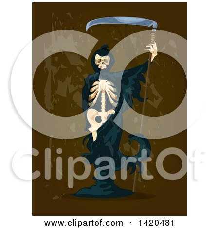 Clipart of a Skeletal Grim Reaper on Brown - Royalty Free Vector Illustration by Vector Tradition SM