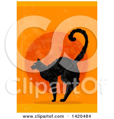 Clipart of a Scared Black Cat Against a Full Moon on Orange - Royalty Free Vector Illustration by Vector Tradition SM