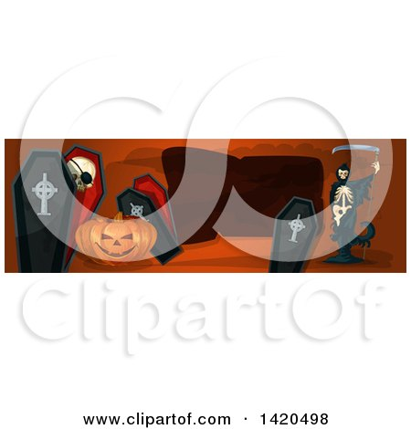 Clipart of a Header Website Banner of a Grim Reaper, Halloween Pumpkin and Coffins - Royalty Free Vector Illustration by Vector Tradition SM