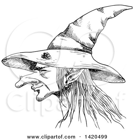 Clipart of a Sketched Black and White Witch Face in Profile - Royalty Free Vector Illustration by Vector Tradition SM