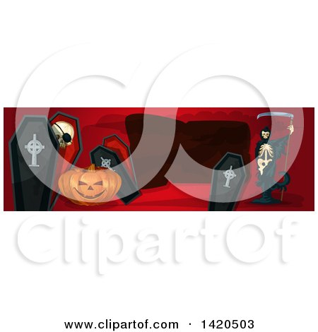 Clipart of a Header Website Banner with a Halloween Jackolantern Pumpkin, Coffins, and Grim Reaper - Royalty Free Vector Illustration by Vector Tradition SM